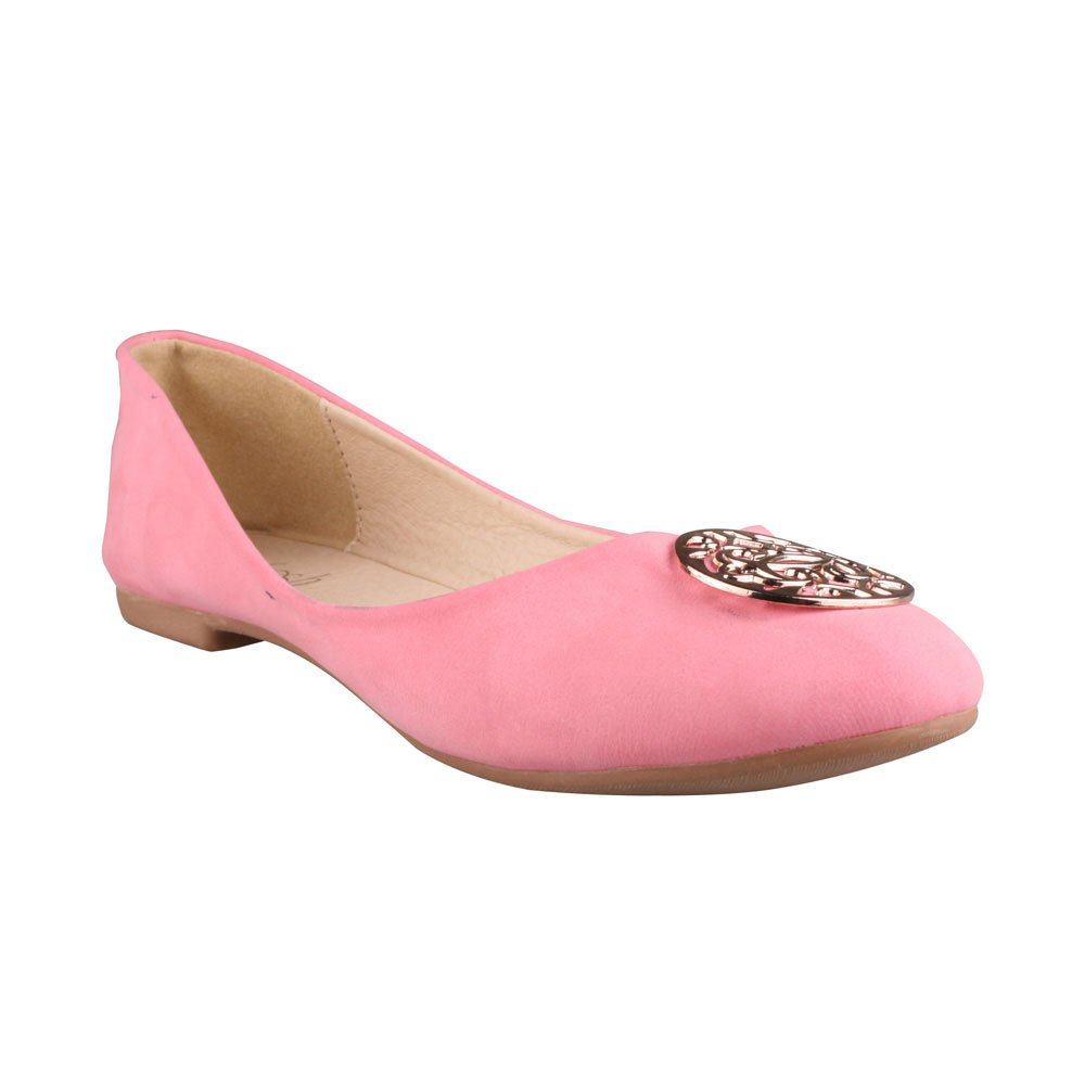 Color:CORAL REFRESH VIOLA-02 Womens Ballet Flats with Medallion vamp Size:7.5
