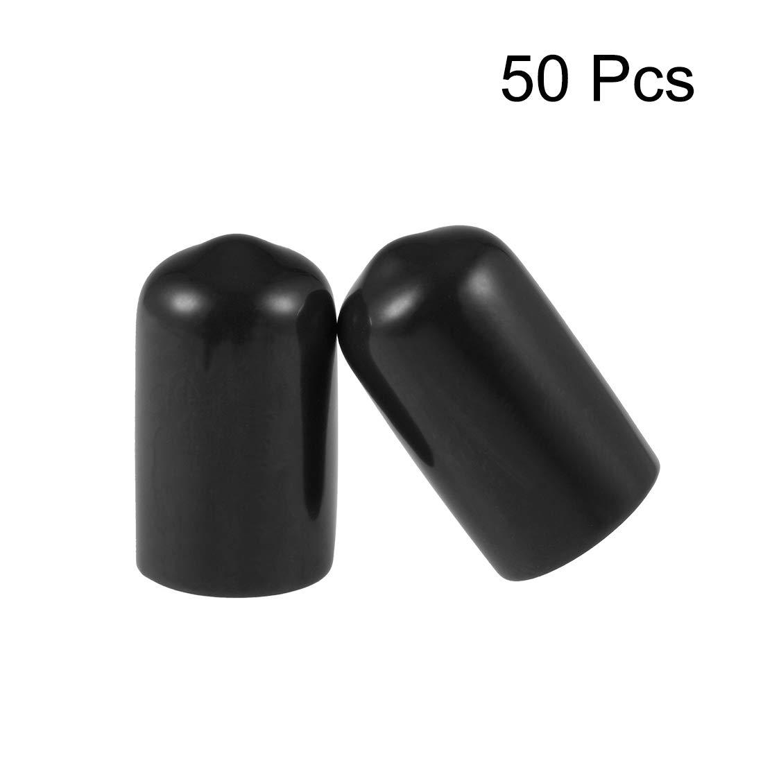 Tapas de tubo negro 50uds sourcing map Protector de rosca de tornillo Cubierta de tapa de extremo redondo de 3mm de ID