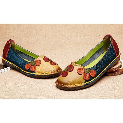 Btrada Donna Mocassini Fiori Scarpe Soft Driving Mocassini Scarpe Flat Penny Scarpe Da Barca Slip On Pantofole Giallo Con Blu
