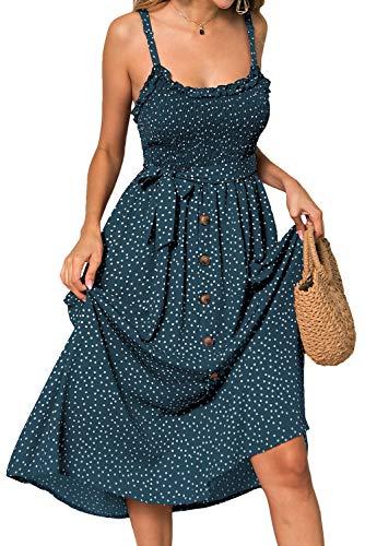 LOMON Boho Dress for Women Smocked Tube Button Down A-Line Mide Dress (Dark Green,S) ()