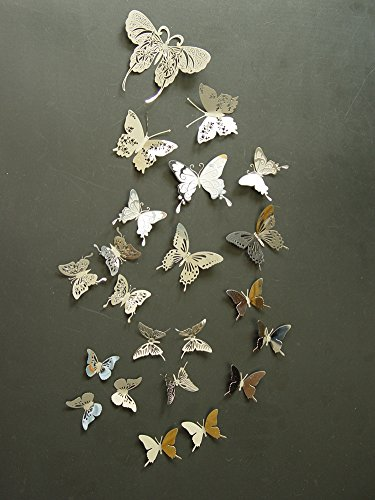 Captivating Set 22pcs Silver Color Stainless Butterflies 3d Butterfly Wall Decor Home  Decor