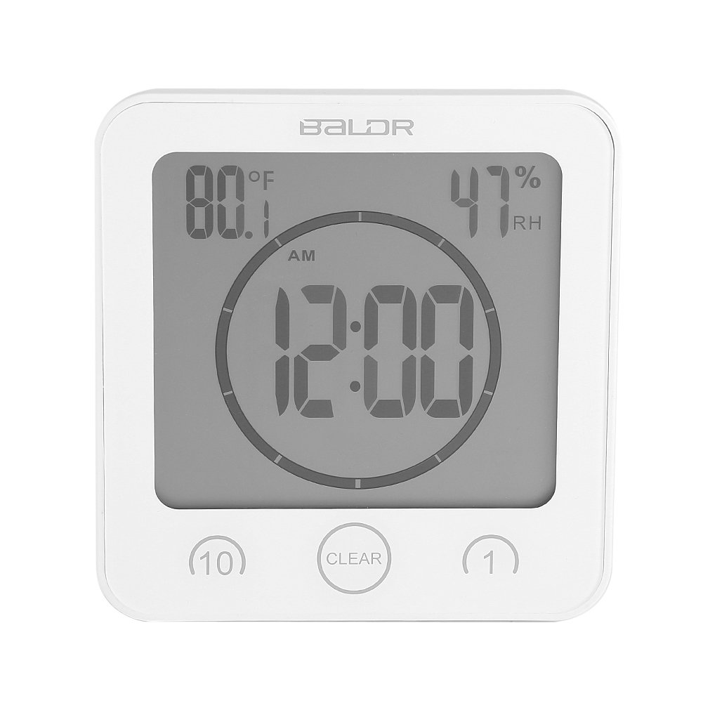 GLOGLOW Bathroom Clock Shower Timer Alarm Digital Clocks Bathroom Waterproof Timer Clocks with Suction Cup,Thermometer Hygrometer for Shower(Black)
