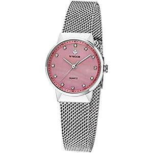 WWOOR Womens Rhinestone Stainless Steel Mesh Band Quartz Watch Casual Business Wristwatch