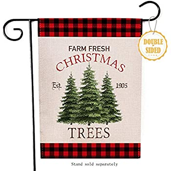 Hzppyz Farm Fresh Christmas Trees Garden Flag, Home Decorative Xmas Outdoor Flag Sign Buffalo Check Plaid, Rustic Burlap Farmhouse Yard Flag Vintage Winter Outside Decoration Home Decor Flag 12 x 18
