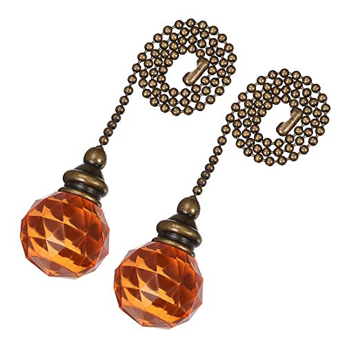 uxcell Orange Acrylic Sphere Pendant 12 inch Antique Brass Pull Chain for Lighting Fans Pack of - Antique Pendant Acrylic