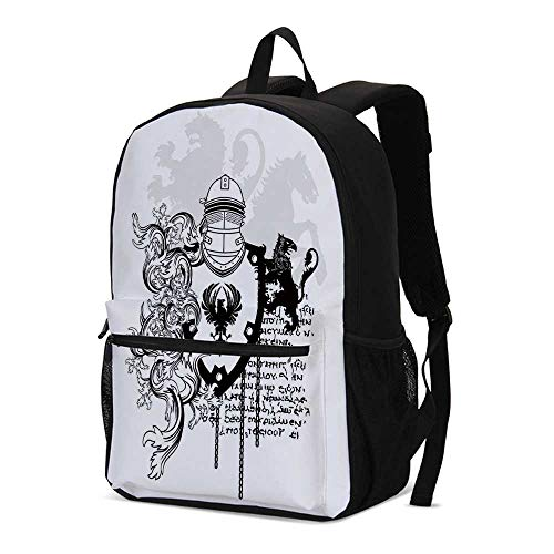 Medieval Decor Fashional Backpack,Heraldic Helmet Coat of Medieval Knight with Ornate Pattern the Past Old Times Graphic for School Travel,12.2