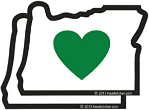 Heart in Oregon Sticker 2 Pack Small Size Green Heart State Map Shaped Decal Apply Mug Phone Laptop Water Bottle Bumper Classic State Symbol