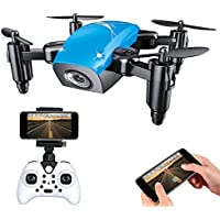 IMZ Mini Foldable Pocket Helicopter Drone - Headless Mode & Altitude Hold with WIFI Camera 2.4Ghz Gyro 4CH RC Quadcopter for Beginner - Blue