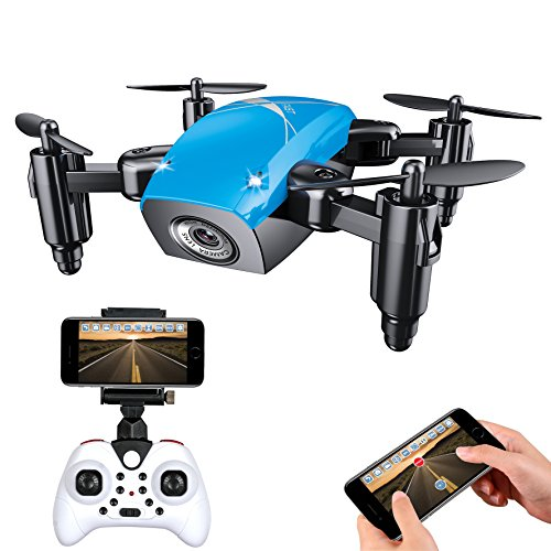 IMZ Mini Foldable Pocket Helicopter Drone – Headless Mode & Altitude Hold with WIFI Camera 2.4Ghz Gyro 4CH RC Quadcopter for Beginner – Blue