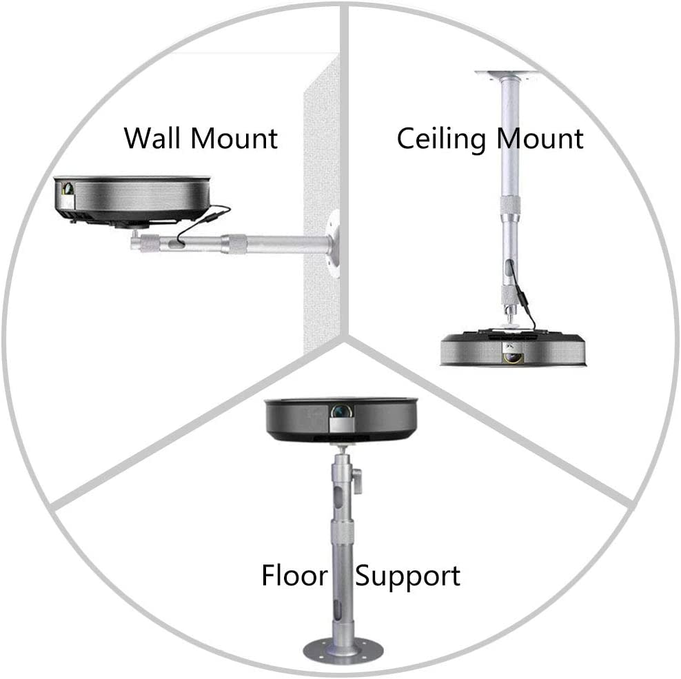 Silver LANMI Universal Extending Ceiling Projector Mount,Wrench fixed,Hanger 360/° Rotatable Head with Extendable Length 17.32 Height Adjustable Projection for Mini Projector CCTV DVR Camera