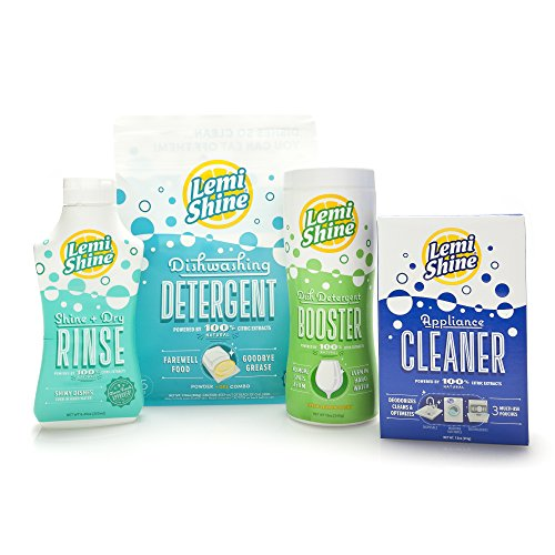 Lemi Shine Complete Dishwasher 4-Pc. Bundle- 12 oz Booster Detergent Additive, Dry Rinse, 15 ct. Detergent Pods and 3-pk Multi-Purpose Machine Cleaner