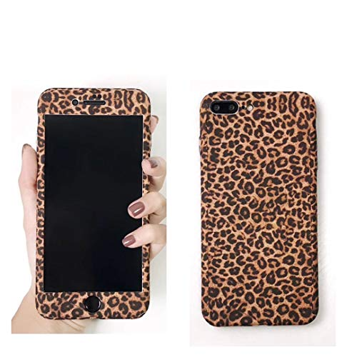 Maxlight 360 Full Body Leopard Phone Cases for iPhone 7 8 Plus Hard PC Back Cover Case for iPhone X XS MAX XR Tempered Glass (Style4, for iPhone 7plus 8plus) ()