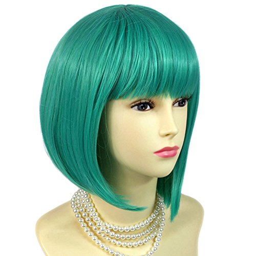 Stunning Cosplay Heat Resistant Jade Green mix Bob Style Short Ladies Wigs UK by Wiwigs