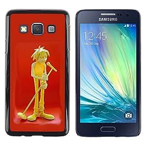 LECELL--Funda protectora / Cubierta / Piel For Samsung Galaxy A3 SM-A300 -- Music Microphone Art Boy Singer Drawing --