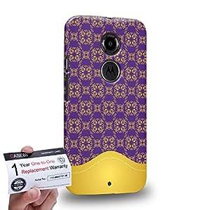 Case88 [Motorola Moto X (2nd Gen)] 3D Printed Snap-on Hard Case & Warranty Card - Art Aztec Assorted Design Purple & Yellow