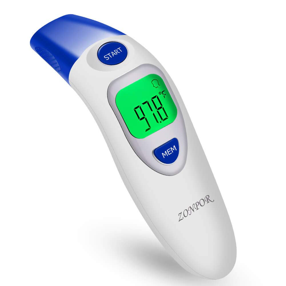 Digital Forehead Thermometer, Zonpor Medical Infrared Baby Thermometer for Fever Kids/Adult with Ear Function Body Basal Thermometers Accurate Reading Medically Proven, FDA and CE Approved EFT-161