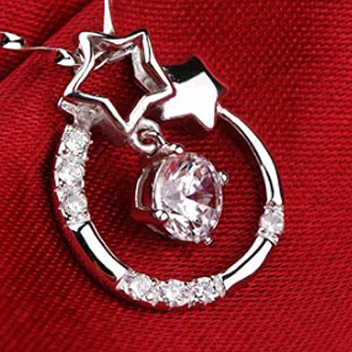 Latigerf Womens Circle Wishing Star Pendant Necklace 925 Sterling Silver Crystal