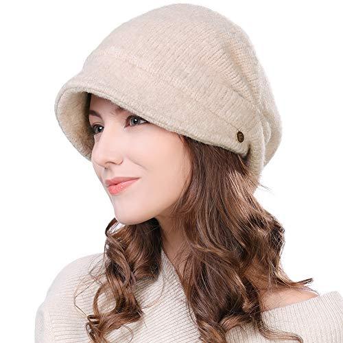 Womens Wool Visor Beanie Crochet Knit Newsboy Beret Cap Cold Weather Winter Hat Ladies Fashion Fleece Beige