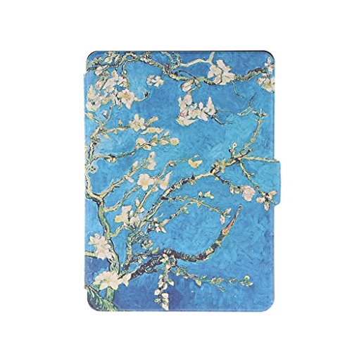 Fenteer Flower Pattern Flip Leatherette Stand Smart Magnetic Case Cover Skin for Amazon Kindle Kindle ()