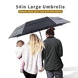 Lejorain 54inch Large Umbrella Auto Open Close,Folding Golf Size and 210T Dupont Teflon Coated Vented Windproof Double Canopy,Unisex&Black