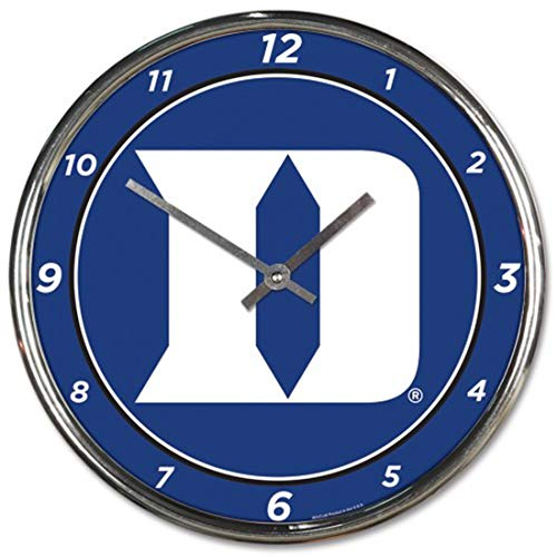 Wincraft Duke University Blue Devils Chrome Wall Clock 12 inches Round