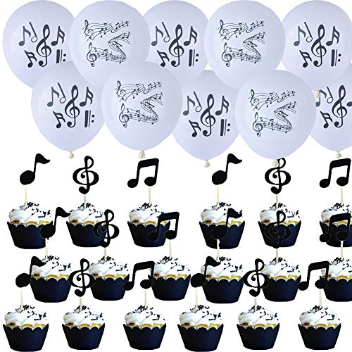 54pcs Black Music Note Balloons(30pcs) And Notes Cupcake Toppers(24pcs) for Music Themed Party Decorations ()