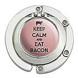 Keep Calm And Eat Bacon Pig Foldable Table Bag Purse Caddy Handbag Hanger Holder Hook with Folding Compact Mirror