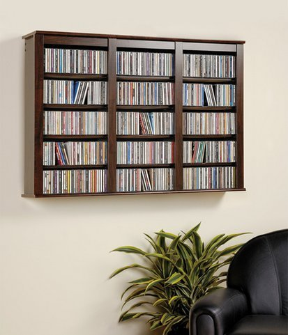 Everett Espresso Wall Mounted Hanging Media Storage Cabinet CD DVD Storage - Mall The Everett