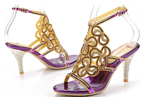 Bride CRC Rhinestone Sandals Sparkle Bridesmaid Wedding Surprising Microfiber Party Evening Womens Material purple Stiletto Show Unique rOq4rnAz