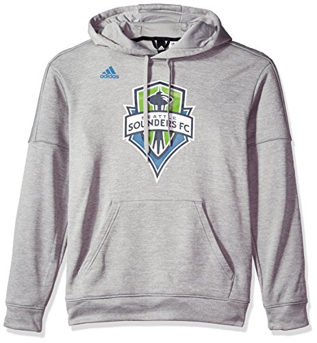 adidas Adult Men Logo Set Team Issued Fleece Hood, Medium Grey, X-Large