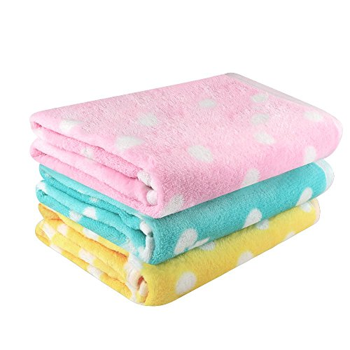Airsspu Dog Blanket - 3 Pack 3 Colors Fleece Pet Puppy Blanket - Pet Cushion Bed Soft Warm Sleep Mat - For Dog Cat and All Kinds of Small Medium Animals