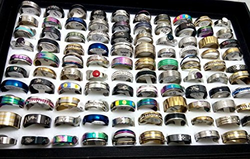 FidgetGear 100pcs Top Mix lot Wholesale Stainless Steel Rings Men Women Fashion Jewelry (Wholesale Stainless Steel Rings)