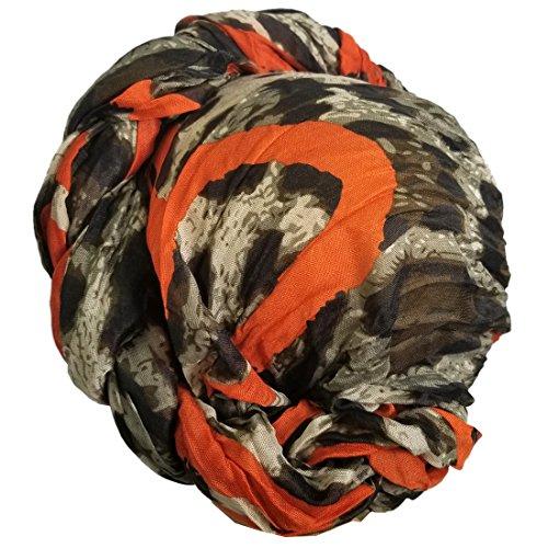 Color Head Wrap Scarf Long Hair Scarf Turban Tie, African Print Head Tie Scarf (Leopard Animal Print Orange) ()