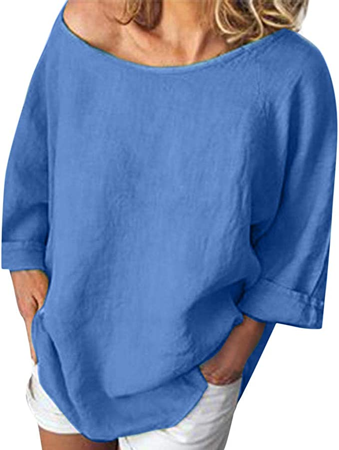 Mujeres Verano Camisetas Suelta de Color Liso Elegante ...