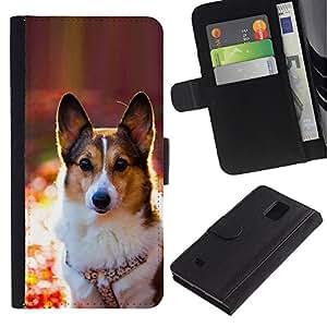 EuroCase - Samsung Galaxy Note 4 SM-N910 - Corgi rembroke welsh cardigan dog - Cuero PU Delgado caso cubierta Shell Armor Funda Case Cover