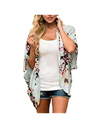 Womens Kimono Cardigans Boho Floral Print Chiffon Blouse Casual Coverup Tops (M, Green)