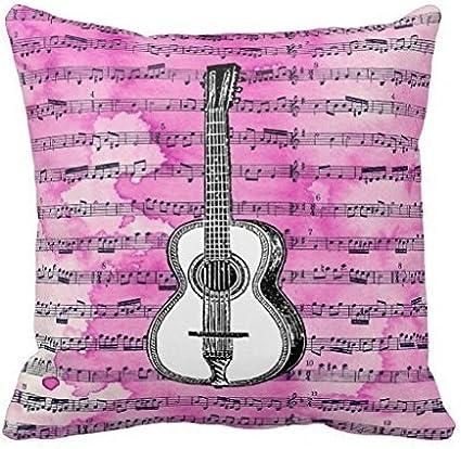 Rosa notas musicales guitarra personalizada cuadrado Custom manta ...