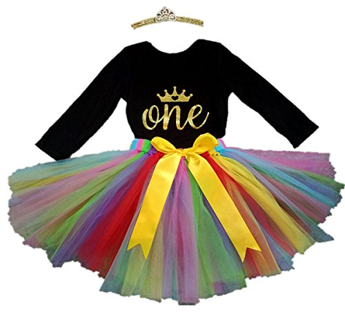 irl 1st Birthday Onesie Toddler Tutu Dress Crown Outfit Large, Black/Rainbow ()