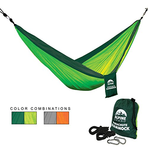 Alpine Nylon Sleeping Bag (Alpine Grand Premium Lightweight Portable Parachute Hammock – GREAT for CAMPING, BACKPACKING, HIKING, YARD, BEACH, BOAT DOCK, PARK (Lime Green/Green, Single))