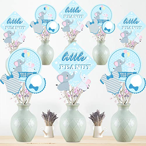 Baby Shower Decoration Set Blue Elephant Centerpiece Sticks Birthday Party Table Toppers for Boy Girl Birthday Party Supplies,Double Side Printed 24 Pack -