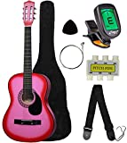 "Crescent MG38-PK 38"" Acoustic Guitar Starter Package, PINK (Includes CrescentTM Digital E-Tuner)"