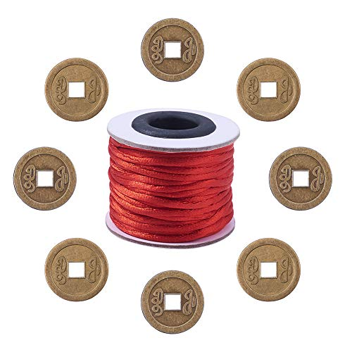 NBEADS 90 Pcs 6 Patterns Tibetan Style Alloy Chinese Good Luck Coin Pendants with 1 Roll/10.93 Yards Nylon Thread for DIY Bracelet Necklace Jewelry Making, Antique Bronze from NBEADS