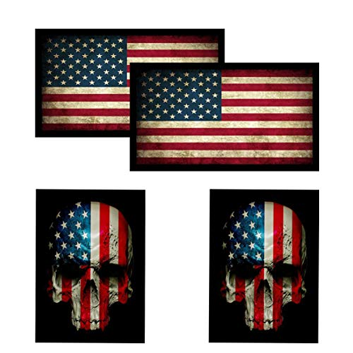 American Flag & Skull Flag HardHat & Helmet Stickers: 4 Decal Value Pack. Great for Motorcycle Biker Helmet, Construction Toolbox, Hard hat, Mechanic Shop & More. Great Gift for Any Patriot. USA Made
