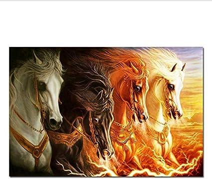 RUIYAN Cuadros De Lienzo Cuatro Caballos Blancos Corriendo con Carteles De Fuego Animales Postes E Impresiones Arte Nórdico Cuadro De Pared para Sala De Estar 40X60Cm Lq93T Sin Marco