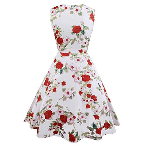 Janly Vintage Floral Parchwork Tee Kleider Plissee für Frau Elegante  Ballkleid Party Ball Kleid 50er Jahre ... 67e47d8fe6