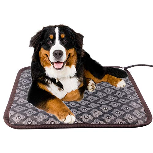 (Aiicioo Dog Heating Pad - Pet Heating pad for Dog Indoor with Ultra Soft Cover Chew Resistant Cord Heated Bed (18.8 x28 in))
