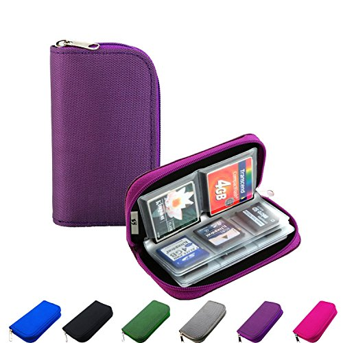 Litop Memory Card Carrying Case Holder Pouch Bag 8 Pages and 22 Slots for SDHC SD Cards MMC CF Micro SD Storage Protector - Sd Memory Dsi Card