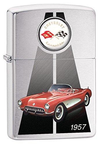 Zippo Custom Lighter: Chevrolet Corvette 1957 Convertible - Brushed Chrome 78936