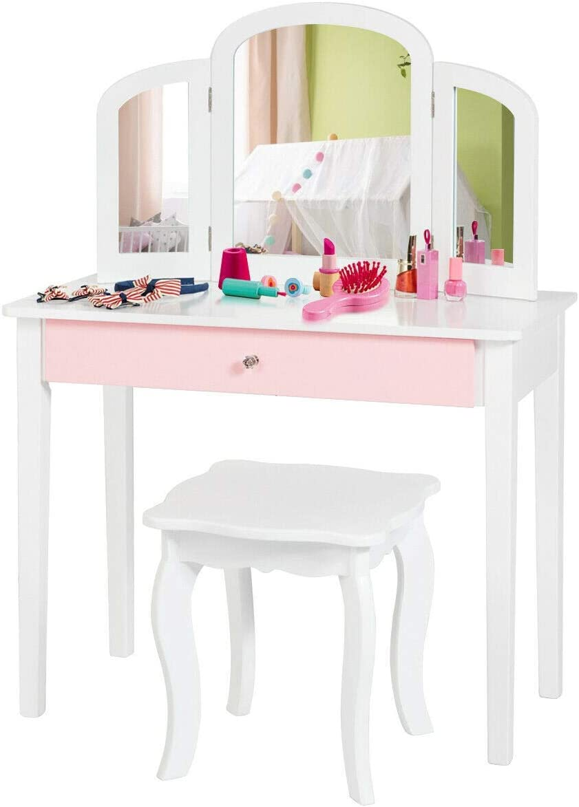Costzon Kids Vanity Table, Princess Makeup Dressing Table with Drawer Tri-Folding Mirror, 2-in-1 Vanity Set with Detachable Top, Pretend Beauty Play Vanity Set for Girls White