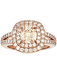18k Rose Gold Plated Sterling Silver Cushion Cut Champaign Cubic Zirconia 6mm Double Halo Ring